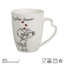 12oz New Bone China Mug with Decal Design Heart Handle