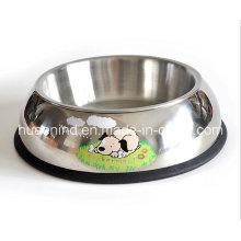 Bacia de alimentação do animal de estimação do aço inoxidável da impressão