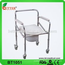 Portable steel folding commode chair