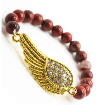 Red Jasper 8MM Round Beads Stretch Gemstone Bracelet with Diamante Wing Piece