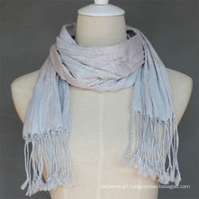 Fashionable viscose silver silk scarf for lady