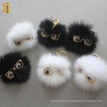Mode-niedliches lustiges weißes und schwarzes kleines Monster-Pelz Keychain