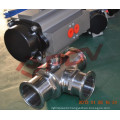 Pneuamtic 3 way sanitary welding ball valves t type