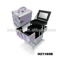 Caisse cosmétique professionnelle en aluminium avec 2trays et un miroir à l'intérieur