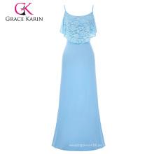 Grace Karin Occident Mujer Verano Spaghetti correas de largo azul claro Beach Dress Maxi vestido CL008933-3