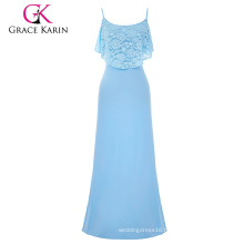 Grace Karin Occident Women's Summer Spaghetti Straps Long Light blue Beach Dress Maxi Dress CL008933-3