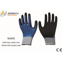 Guantes de trabajo con revestimiento de nitrilo de poliéster Shell (N3405)