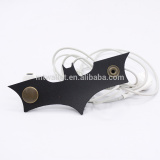 Cool Black Bat Leather Cord Holder Earbus Winder Earphone Clip