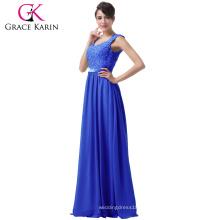 Grace Karin gris azul púrpura vestidos de noche largos encaje de gasa vestido Backless formal vestido de noche CL6231-2