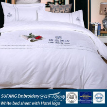 SUFANG Embroidery white bed sheet with Hotel logo