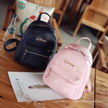 2017 vente chaude nouveau design en gros prix filles en cuir sac à dos scolaire