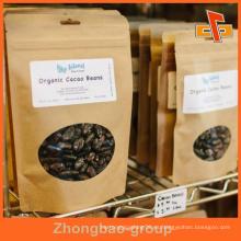 Bolsa de alimentos resellable de papel tapa de cremallera marrón personalizada para el embalaje de alimentos secos con ventana