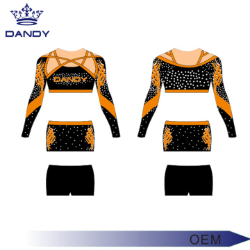 Charmant Mesh Sublimate Jeunes Uniformes Cheerleading