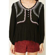 Вышивка с длинными рукавами женщин блузка