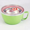 unbreakable 24oz fancy stainless steel soup mug rice noodles bowl with lid