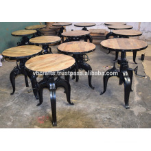 Industrial Crank Cafe Table Mango Wood Top Round Iron Framed