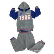 Terno de sapo de manga longa, faixa de fato no Cardigan Hoodies com zíper na roupa de crianças Swb-108