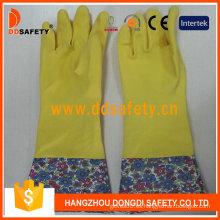 Guantes de látex de látex para el hogar de látex amarillo (DHL713)