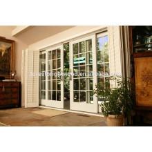 White Modern Sliding Patio Door with Bi-folded Louver Door