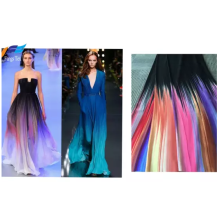 Rainbow Nida Impreso Poliéster Crepe Abaya Vestido de tela