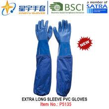 Extra Long Sleeve PVC Coated Gloves, Work Gloves with CE, En388, En420