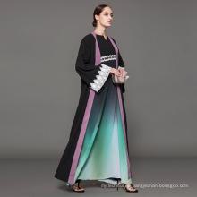Propietario diseñador marca OEM fabricante de la etiqueta de las mujeres ropa islámica personalizada frente abierta abaya musulmán cardigan abaya kimono