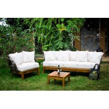Poly Rattan Sofa set with Acacia Wooden Legs for Outdoor Garden