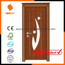 Porte de bois PVC en verre turquoise de qualité avec certificat (SW-A001)