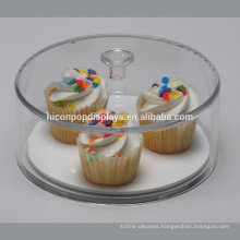 Round Counter Top Showcase Design Cake Retail Shop Custom Dustproof Clear Acrylic Food Display Stand