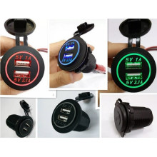 12V 24V 3.1A Motorcycle Car Dual USB Power Charger Socket for Marines and Boats