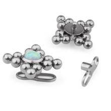 ASTM F136 Titanium Internally Threaded Opal Dermal Anchor Piercing Body Jewelry