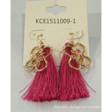 Fabric Bright Color Earring with Metal