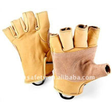 Cow Grain Leather Sport Fingerless Climbing Glove