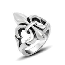 316L Нержавеющая сталь мужчины кольцо старинные Айрис цветок на стороне