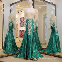 LS21771 Projeto de cristal de bangkok branco e verde de manga curta, encadernado e amordaçado em esboços de vestido de noite