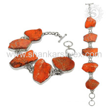 Charming red raw turquoise gemstone silver bracelet 925 sterling silver bracelets handmade jewellery exporter