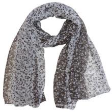 Lady Fashion fleur imprimée écharpe en soie de voile de polyester (YKY4226)