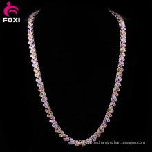 Collar de cadena llena de oro de piedras preciosas de alta calidad