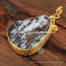 Pingente de prata feito à mão com pedras preciosas semi preciosas para o presente de aniversário