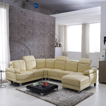 Metal Legs U-Shaped Leather Corner Sofa Set