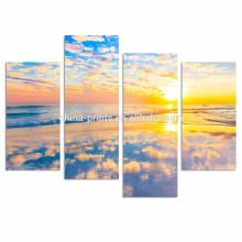 Golden Beach Wall Art/Seascape Pictures Print on Canvas/Sunrise on Sea Canvas Art