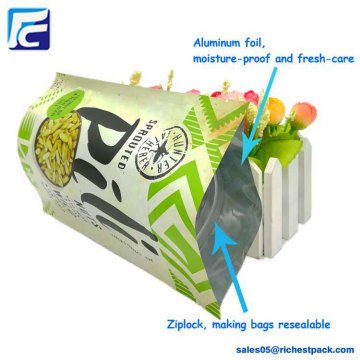 Wholesale plasticaluminum ziplock snack food packaging bag