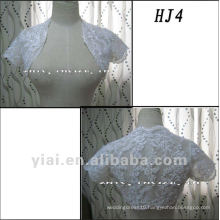 HJ4 Free Shipping High Quality Custom-made Beautiful Applique Short Sleeve White Tuller Wedding Jacket