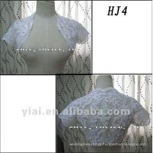 HJ4 Frete Grátis Alta Qualidade Custom Made Beautiful Applique Short Sleeve White Tuller Casaco Casaco