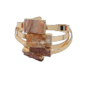 Charm Bracelet 2016 new Product Natural Clear Crystal with Druzy Cuboid Orange