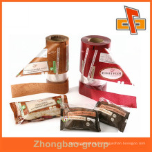 Laminated material transparent custom printed plastic bag on roll for food packing