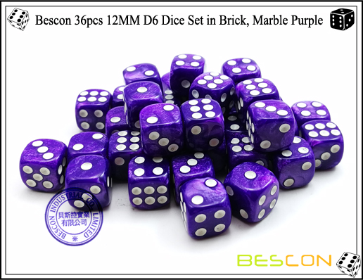 Bescon 36pcs 12MM D6 Dice Set in Brick, Marble Purple-5