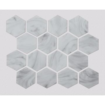 White Stone Hexagonal Pattern Glass Mosaic For Kitchen