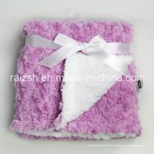 Sherpa grueso con terciopelo rosa Mantas de bebé mantas al por mayor