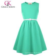 Grace Karin Kinder ärmellosen Rundhals A-Linie Aquamarine Kinder Mädchen Kleid CL010482-4